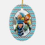 Chevron Pattern Christmas Ornament (aqua)