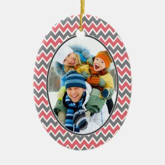 Chevron Pattern Christmas Ornament (coral)