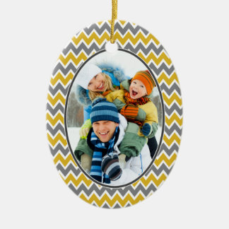 Chevron Pattern Christmas Ornament (gold)