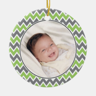 Chevron Pattern Christmas Ornament (lime)
