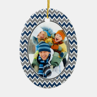 Chevron Pattern Christmas Ornament (navy)