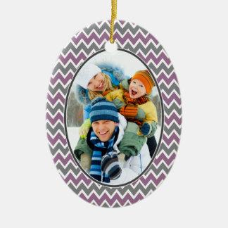 Chevron Pattern Christmas Ornament (purple)