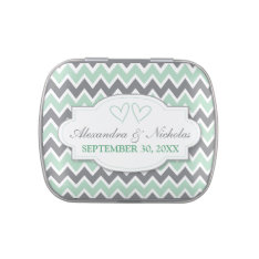Chevron Pattern Custom Wedding Favor Tins (mint) Jelly Belly Candy Tins at Zazzle