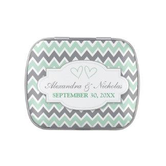 Chevron Pattern Custom Wedding Favor Tins (mint) Jelly Belly Candy Tins