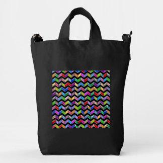Chevron Pattern Digital Art Black Stripes Duck Bag