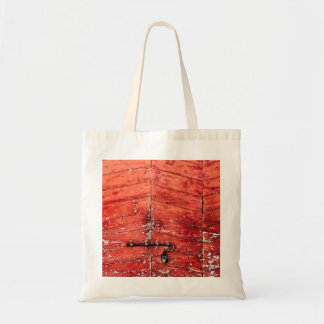Chevron pattern effect on vintage red door canvas bags
