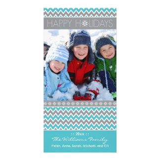 Chevron Pattern Family Holiday Photocard (aqua) Card