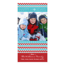 Chevron Pattern Family Holiday Photocard (aqua) Card