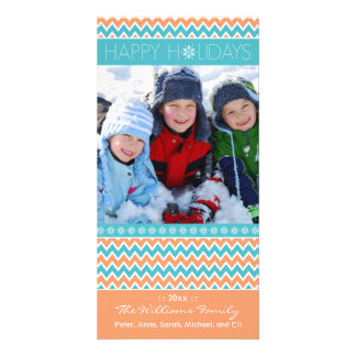 Chevron Pattern Family Holiday Photocard (coral) Card