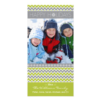 Chevron Pattern Family Holiday Photocard (lime) Card