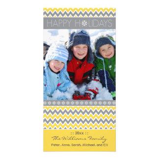 Chevron Pattern Family Holiday Photocard (yellow) Card