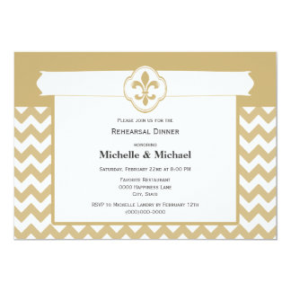 Chevron Pattern Fleur de Lis Event Gold White Card