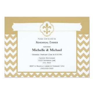 Chevron Pattern Fleur de Lis Event Gold White Card