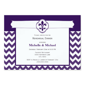 Chevron Pattern Fleur de Lis Event Purple White Card