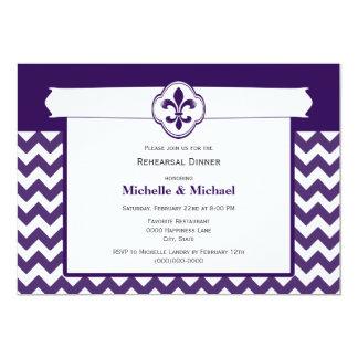 Chevron Pattern Fleur de Lis Event Purple White Card