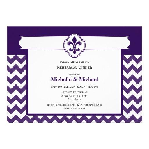 Chevron Pattern Fleur de Lis Event Purple White Announcement
