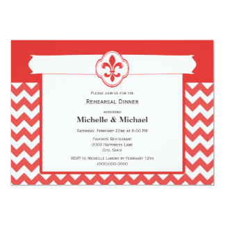 Chevron Pattern Fleur de Lis Event Red and White Card