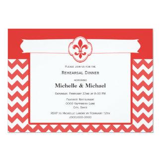 Chevron Pattern Fleur de Lis Event Red and White Card