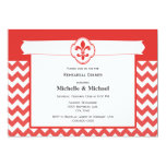 Chevron Pattern Fleur de Lis Event Red and White 5x7 Paper Invitation Card