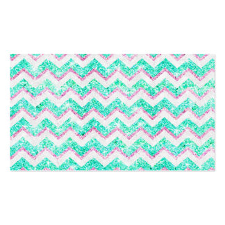Chevron Pattern Girly Teal Pink Glitter photo Business Cards