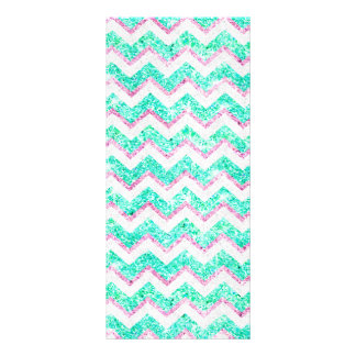 Chevron Pattern Girly Teal Pink Glitter photo Rack Card