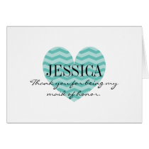 Chevron pattern heart maid of honor thank you card