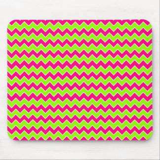 Chevron Pattern Hot Pink and Lime Green Mouse Pad