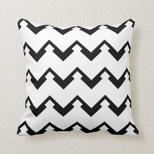 chevron pattern in black and white throw pillows Zazzle