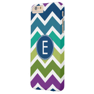 Chevron Pattern in Peacock Colors Custom Monogram Barely There iPhone 6 Plus Case