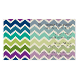 Chevron Pattern in Peacock Colors Custom Monogram Double-Sided Standard Business Cards (Pack Of 100)