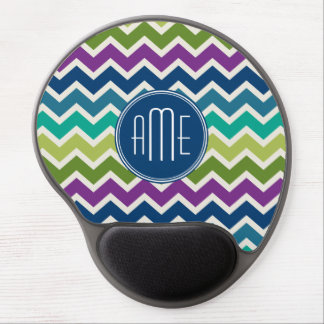 Chevron Pattern in Peacock Colors Custom Monogram Gel Mouse Pad