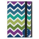 Chevron Pattern in Peacock Colors Custom Monogram iPad Mini Covers