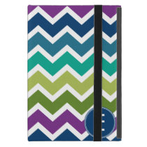 Chevron Pattern in Peacock Colors Custom Monogram iPad Mini Case