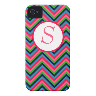 Chevron Pattern iPhone Cast with Monogram iPhone 4 Cover