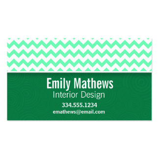 Chevron Pattern; Mint Green Business Card Template