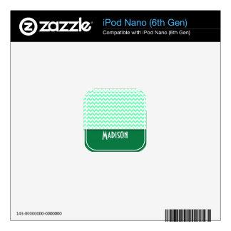 Chevron Pattern; Mint Green Decals For iPod Nano