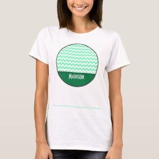Chevron Pattern; Mint Green T-Shirt