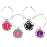 Chevron Pattern Monogram Wine Charm Set
