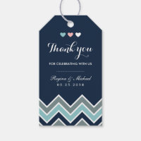 Chevron Pattern Navy Blue Bridal Shower Gift Tag