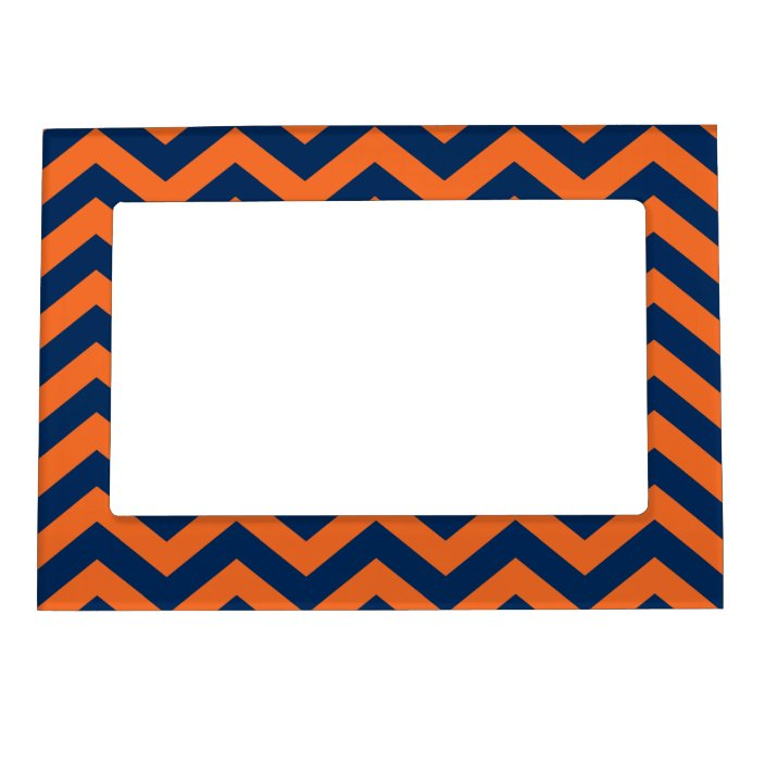 Chevron Pattern Navy Blue Orange Magnetic Frame Zazzle Com