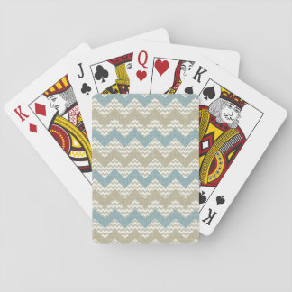 Chevron pattern on linen texture playing cards