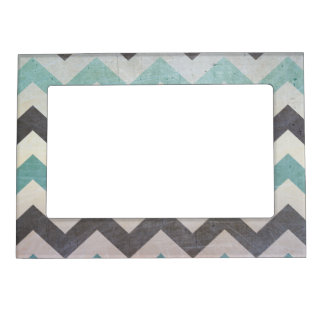 Chevron Pattern On Metal Texture Magnetic Photo Frame
