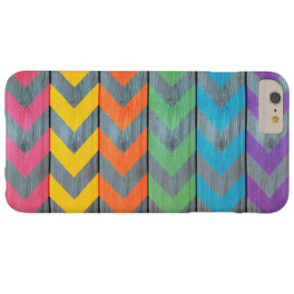 Chevron Pattern On Wood Texture Barely There iPhone 6 Plus Case