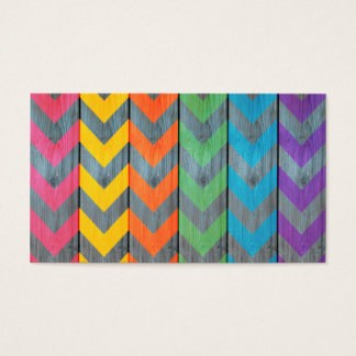 Chevron Pattern On Wood Texture by Shirley Taylor Business Card