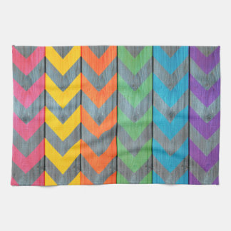 Chevron Pattern On Wood Texture by Shirley Taylor Kitchen Towel