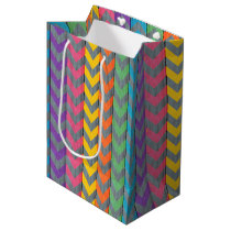 Chevron Pattern On Wood Texture by Shirley Taylor Medium Gift Bag