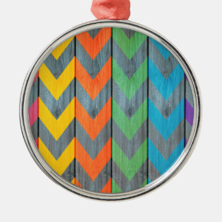 Chevron Pattern On Wood Texture by Shirley Taylor Metal Ornament