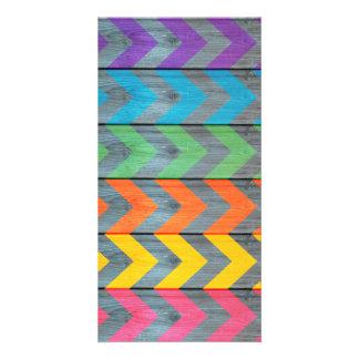 Chevron Pattern On Wood Texture Card