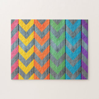 Chevron Pattern On Wood Texture Jigsaw Puzzle