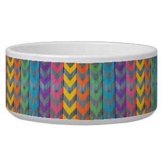 Chevron Pattern On Wood Texture Pet Bowl